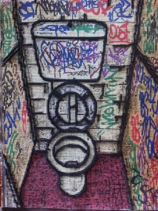 NIKI MCDONALD Fountain of Youth, watercolour, paint pens, wool, tapestry mesh 2013
