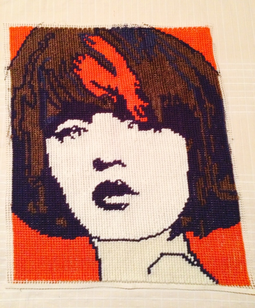 Last stitch done now to have this stretched and framed | Tapestry Girl